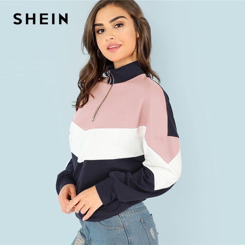 SHEIN Multicolor O-Ring Zip Front Cut and Sew Sweatshirt Athleisure Stand Collar Raglan Sleeve Sweatshirt Women Autumn Pullovers