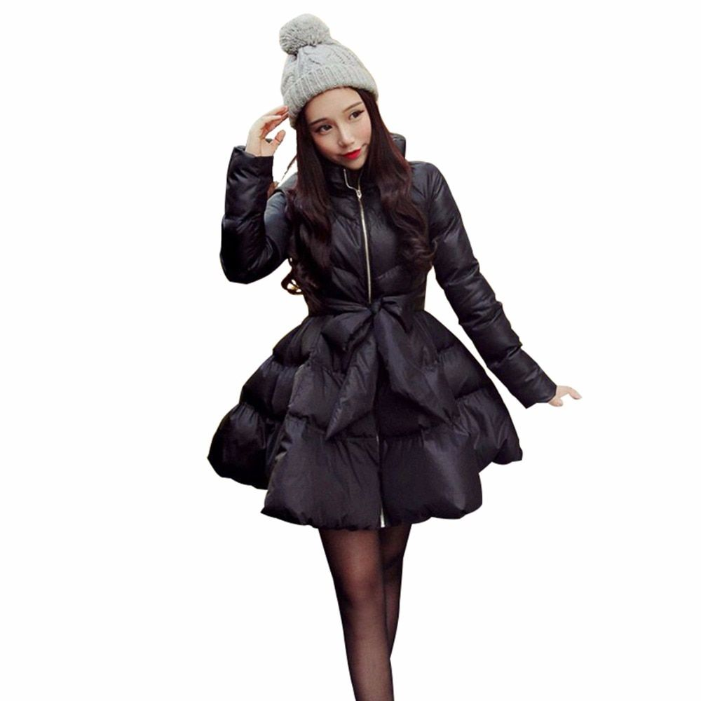 Coat Female Women Blend Coat 2018 New Bow Waist Fluffy Skirt Coat Jacket Parkas For Women Winter Coat Down And Parkas Long A1