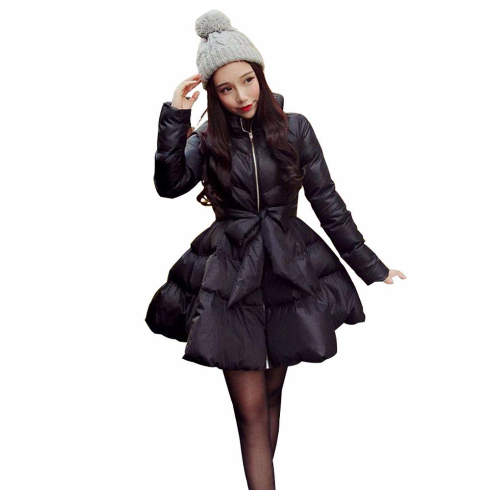 Coat Female Women Blend Coat 2018 New Bow Waist Fluffy Skirt Coat Jacket Parkas For Women Winter Coat Down And Parkas Long A1