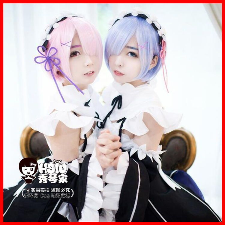 HSIU graduated color REM cosplay wig or RAM cosplay wigs Re:Zero <font><b>Starting</b></font> Life in Another World Costume play Halloween costumes