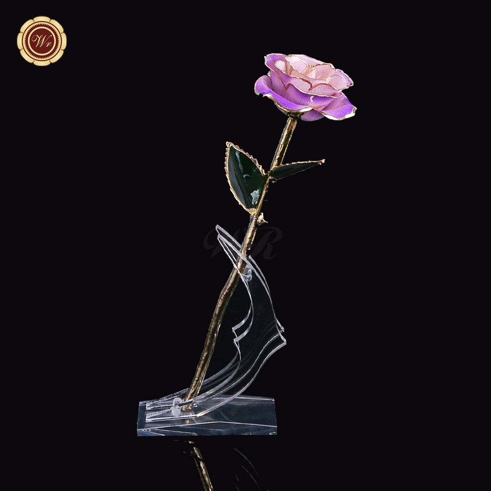 Unique Decoration Long Stem Dipped 24k Gold Rose In Gift Box /w Stand Valentines Gifts Flower