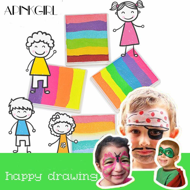 APINKGIRL 4 Sets/lot Rainbow Colors Fluorescent Paint Face Painting Regular Neon UV Body Paint Glowing Makeup Halloween Pigment