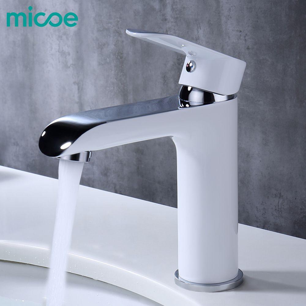 MICOE salle de bains robinet mitigeur bassin robinets évier cascade lavabo robinet laiton chrome navire eau chaude et froide bassin robinets blanc