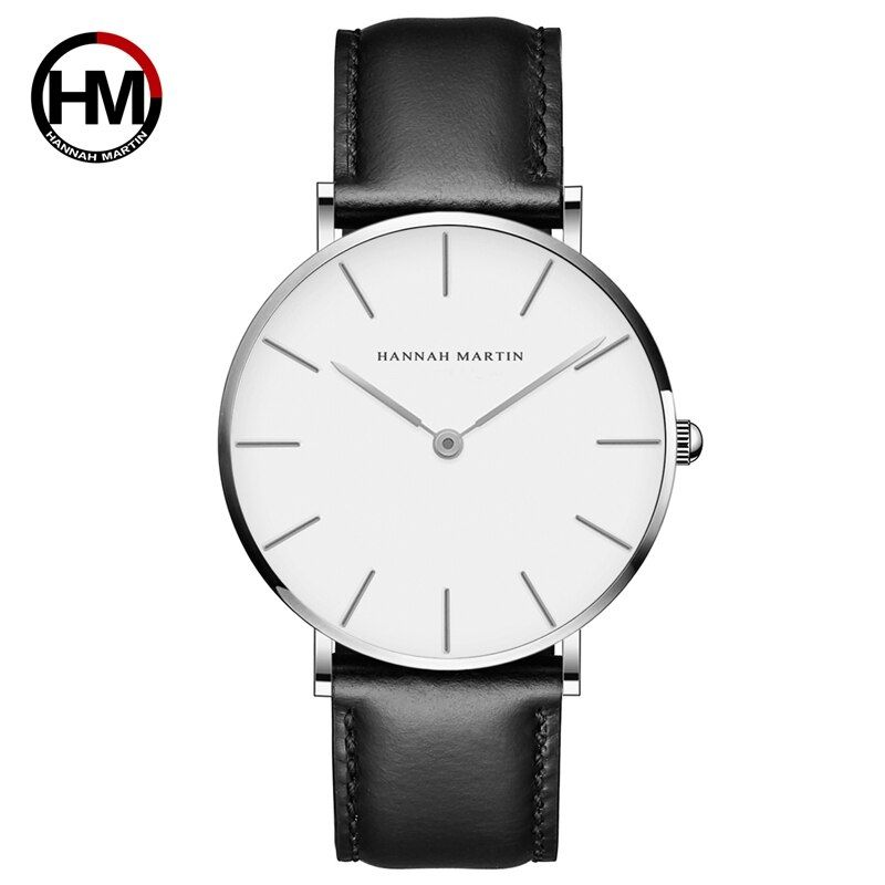 HM 40mm Rose Gold Zifferblatt ultra-dünne Männer Uhr Leder Wasserdicht Mode Frauen Armbanduhr unisex uhr Dropshipping freies verschiffen