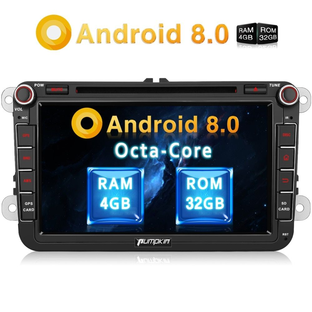 Pumpkin 2 Din 8'' Android 8.0 Car DVD Player GPS Navigation Car Stereo For VW/Skoda/Golf/Polo FM Rds Radio Wifi 4G DAB+ Headunit