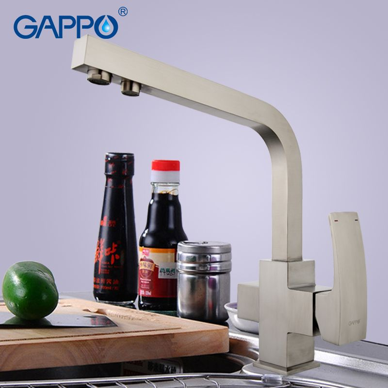 GAPPO Solid Brass Kitchen Faucet Nickle Brushed Letter Seven Design Water Purification Fuction Cold and Hot Water Mixer G4307-5