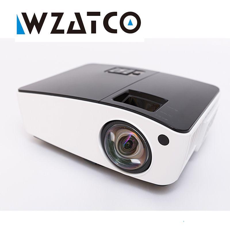 WZATCO tiro Corto Proyector Luz Del Día de Cine En Casa HDMI 1080 p full HD Proyector DLP 3D Proyector beamer para salón de la iglesia hotel