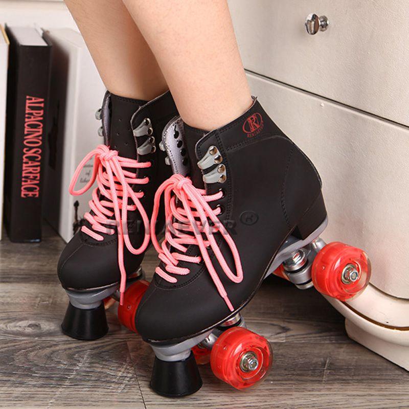 Schwarz Rollschuhe Mit Rote Led Beleuchtung Räder Doppellinie Skates männlichen Erwachsenen F1 Racing 4 Räder Zwei linie Roller Skating Schuhe