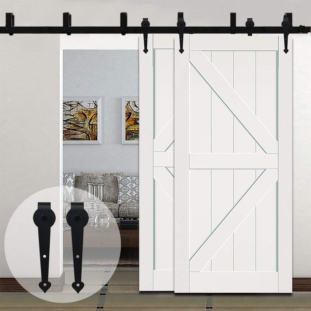 LWZH Sliding Wood Door Bypass Sliding Barn Door Hardware Kit Black Steel Heart Shaped Track Rollers for Interior Double Door