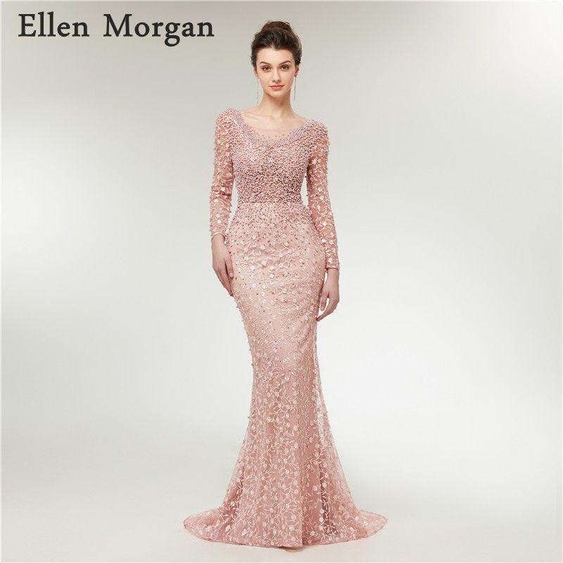 Elegant Long Sleeves Mermaid Evening Dresses 2018 Moroccan Dubai Caftan Custom Made Lace Pearls Formal Gowns Vestido De Festa