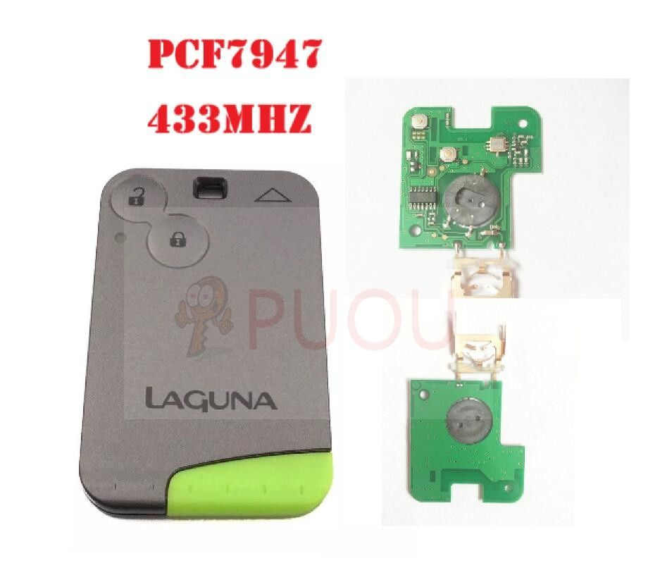 2 Buttons Smart Remote Key PCF7947 Chip 433Mhz for Renault Laguna Espace Smart Card Remote with logo