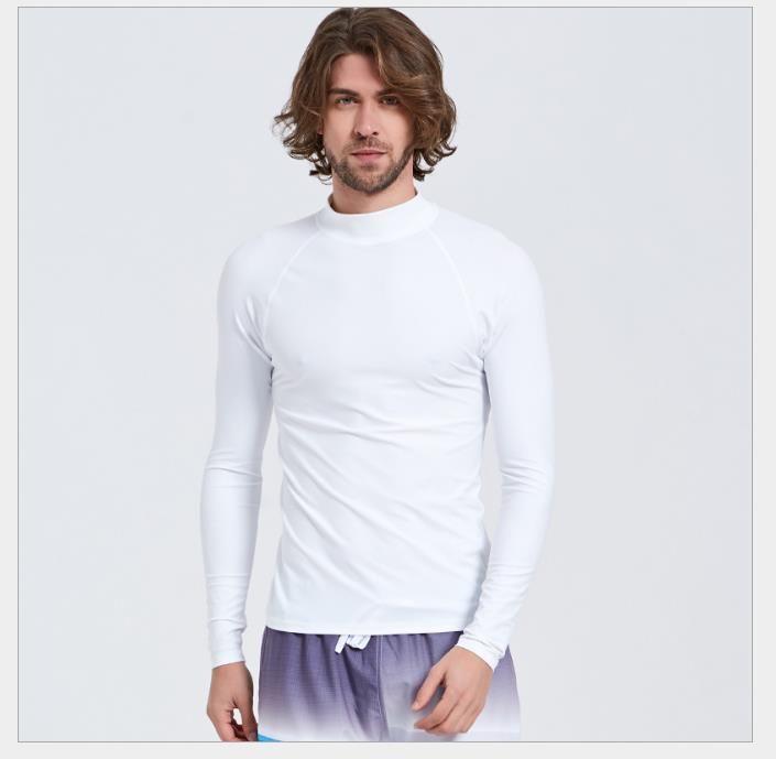 Protection contre les éruptions cutanées protection solaire plongée à manches longues maillot de bain haute qualité Lycra Rashguard pour hommes combinaison surf chemise 6 couleurs