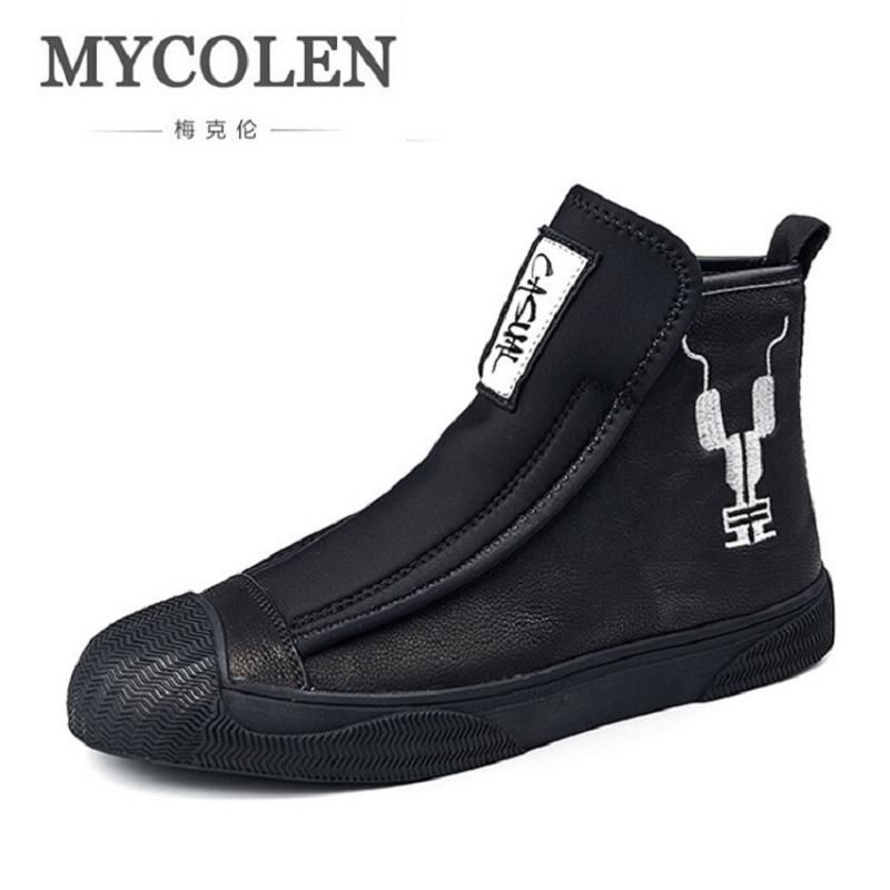 MYCOLEN Genuine Leather Men Ankle Boots Brand Martin Boots Man Leather High Top Shoes Autumn Winter Outdoor Casual Shoes Men