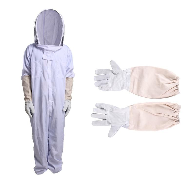 Cotton Full Body Beekeeping Jumpsuit Clothing Breathable Veil Hood Gloves Hat Clothes Jaket Protective Anit Bee Protection XXL