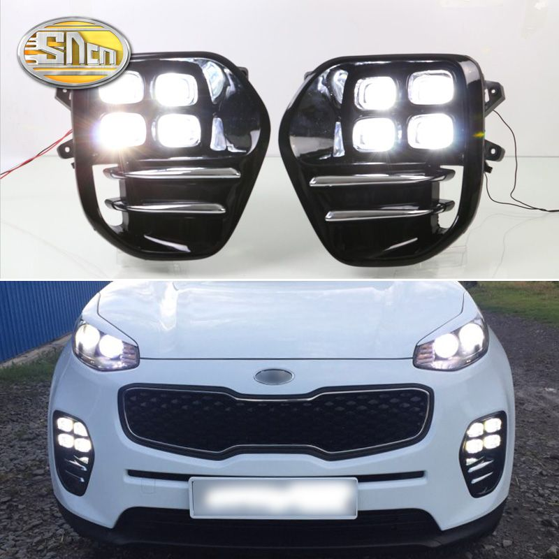 For Kia Sportage KX5 2016 2017 2018 Plug and Play Car 12V DRL Waterproof LED Daytime Running Light LED Fog Lamp Daylight SNCN