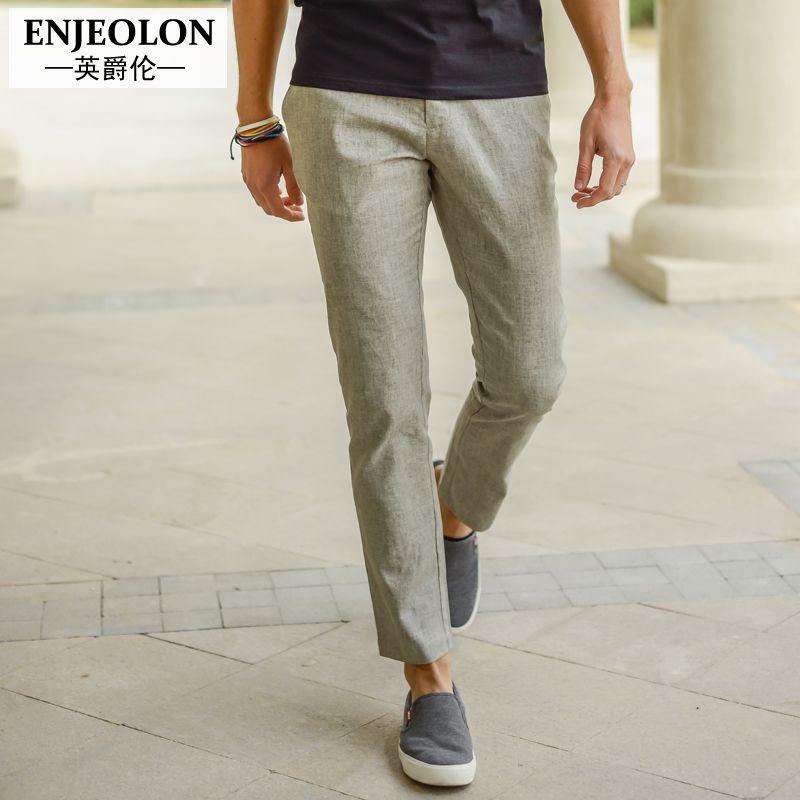 Enjeolon marque cheville pantalon lin pantalon hommes top qualité 2 couleur solide pantalon Slim vêtements hommes droits casual vêtements K1012