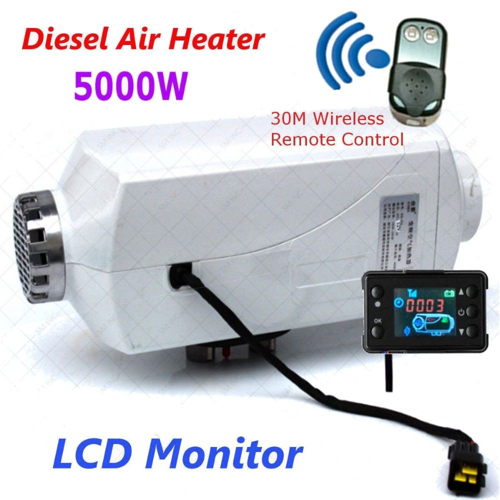 Hot 12V 5000W LCD Display Air diesel- Fuel Car Heater for trucks,boats,bus,Car Aluminum shell with remote control