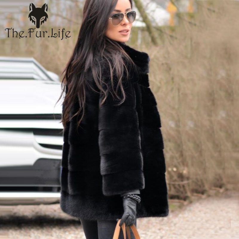 65cm Stand Collar New Natural Real Mink Fur Coat Female Warm Winter Mink Fur Jackets and Coat Wholesale Big Promotion Black