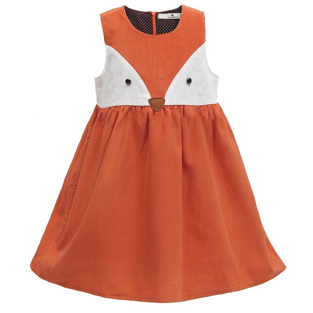 <font><b>Sweet</b></font> Baby Girls Fox Dress Corduroy Dress Orange Color Cartoon <font><b>Sweet</b></font> Kids Dress