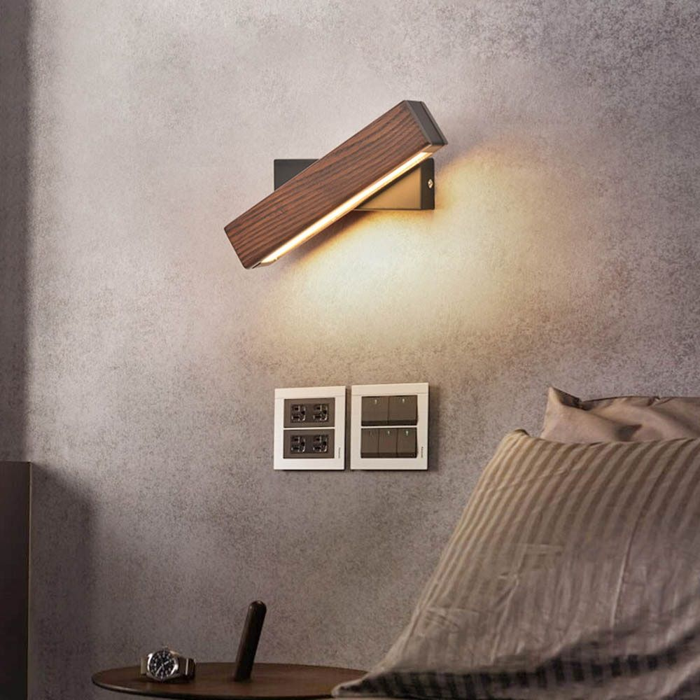 Modern Nordic Solid Wood LED Rotated Wall Lamp Bedside Night Light Bedroom Living Room Aisle Sconce Light Fixture Wall Decor Art