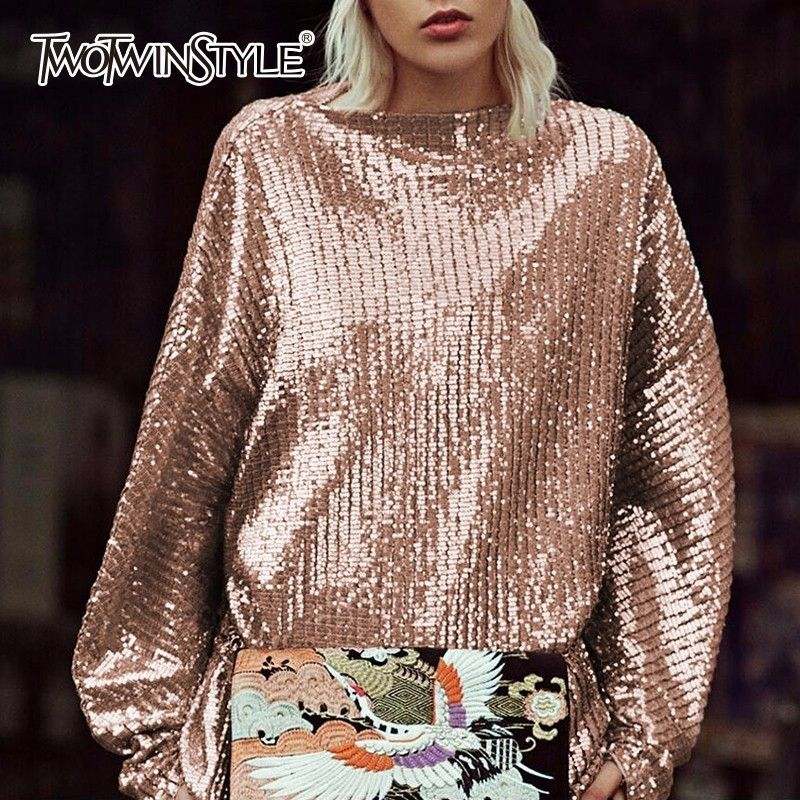 TWOTWINSTYLE Sequins Female T-shirt Slash Neck Lantern Sleeve Tulle Autumn Pullover Tops For Women Loose Fashion New Clothing