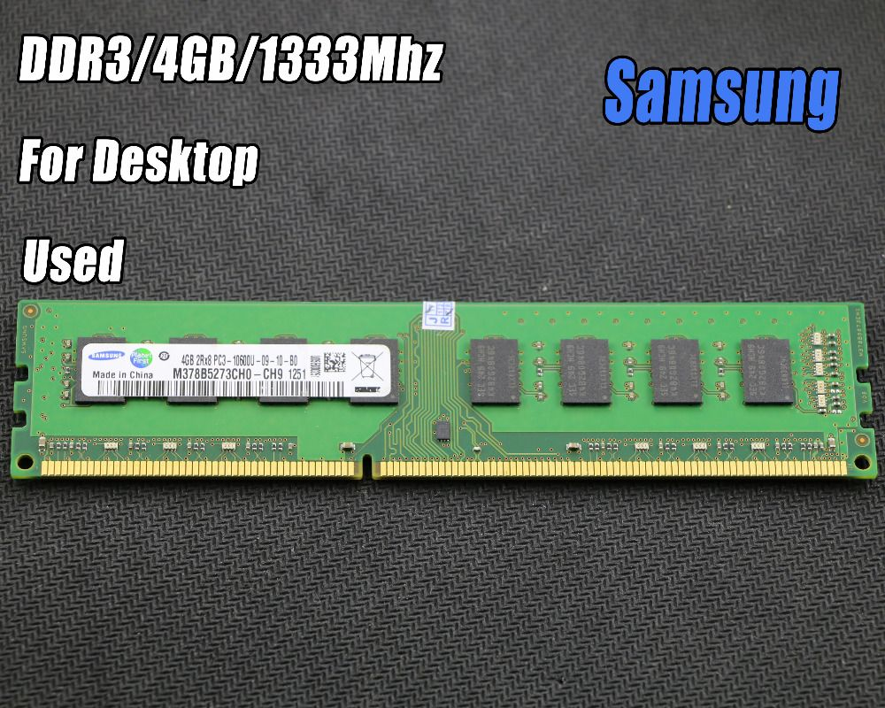 Used original samsung 4GB DDR3 PC3-10600 1333MHz Desktop PC DIMM Memory RAM 240 pins For intel for amd Fully compatible 4g 1333