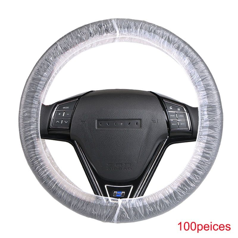 100pcs/lot Universal disposable plastic steering wheel cover /white plastic steering-wheel cover 4S shop dedicated