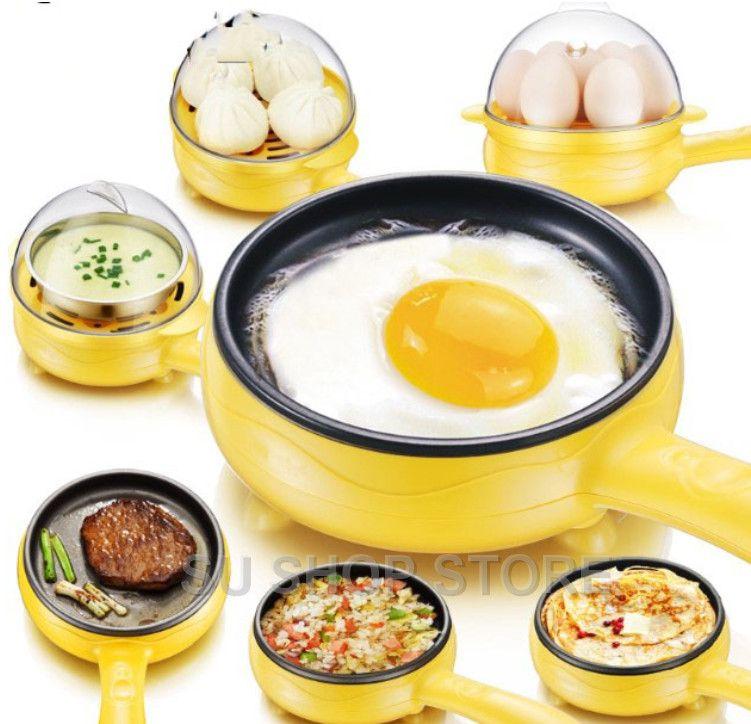 Multifonction ménage mini oeuf omelette crêpes électrique Steak frit poêle anti-adhésif oeufs durs chaudière vapeur arrêt