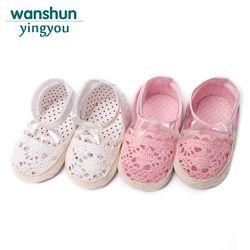 Rosa/blanco princesa Party bebé recién nacido zapatos punto mariposa-Nudo sólido verano nueva antideslizante Soft soled primeros caminantes
