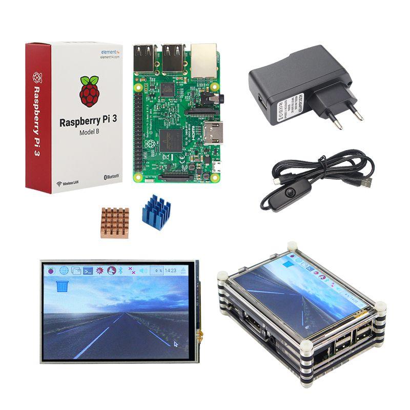 Raspberry Pi 3 Starter Kit Original Raspberry Pi 3 + 3.5 pouces écran tactile + 9-couche Acrylique Cas + 2.5A Plug Power + Dissipateur de Chaleur