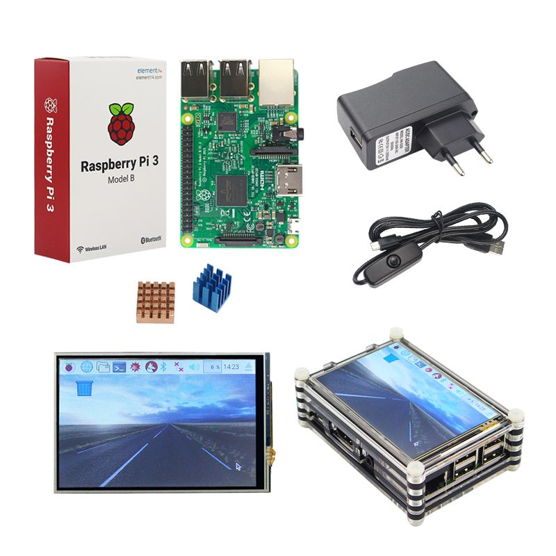 Raspberry Pi 3 Starter Kit Original Raspberry Pi 3 + 3.5 inch Touchscreen + 9-layer Acrylic Case + 2.5A Power Plug + Heat Sink