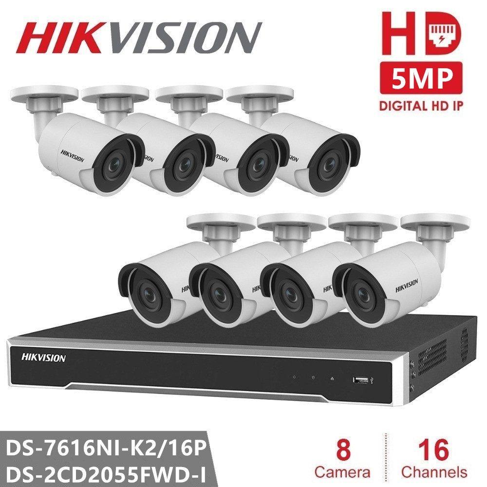 Hikvision Sicherheit IP Kamera Kits 16CH 16POE NVR 5MP IP Kamera DS-2CD2055FWD-I Ultra-Niedrigen licht Kugel für Outdoor Sicherheit CCTV