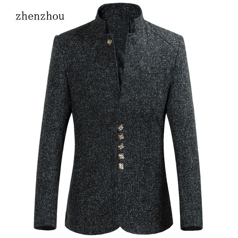 ZhenZhou Blazer Men 2017 Autumn New Style Stand Collar Male Blazer Slim Fit Mens Blazer Jacket Plus Size M-5XL 6XL High Quality