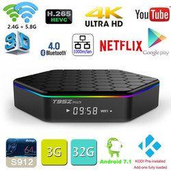 D'origine T95Z Plus 2 GB 16 GB 3 GB 32 GB Amlogic S912 Octa base Android 7.1 OS Smart TV BOX 2.4G/5 GHz WiFi BT4.0 4 K pk mini m8s pro