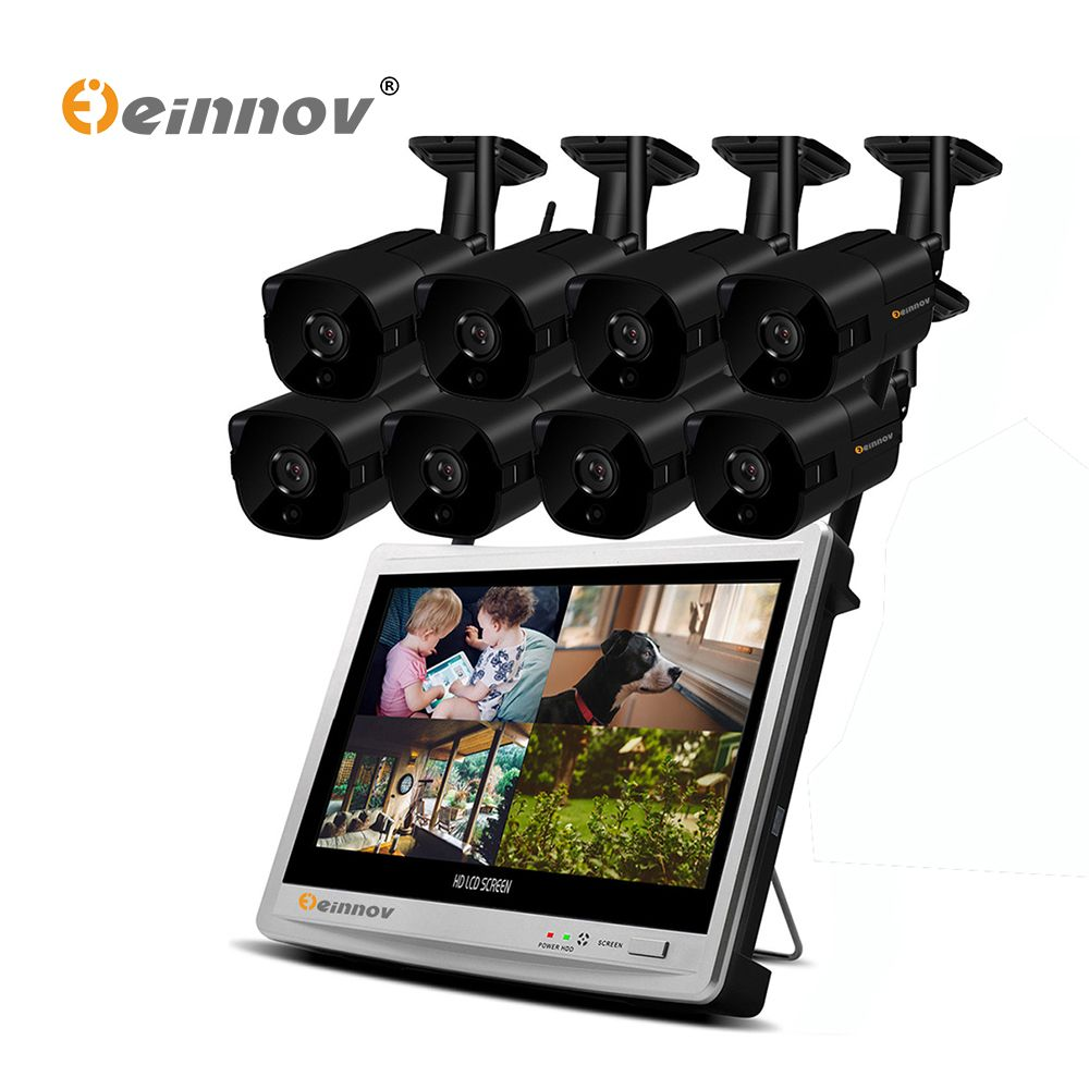 Einnov 8CH 1080P Security IP Camera System Video Surveillance Kit Wireless NVR With 12 inch LCD Monitor CCTV Set Outdoor Home