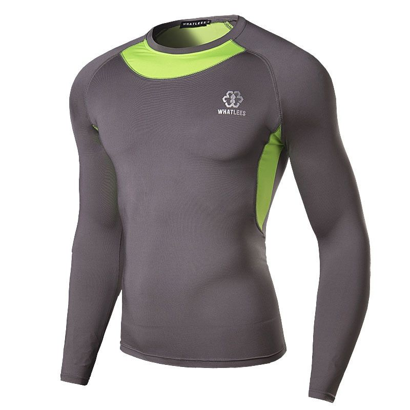Men Compression O-Neck Long Sleeve Tight T Shirts Fast Drying Fitness Base Layer Tops Quick drying Free Shipping