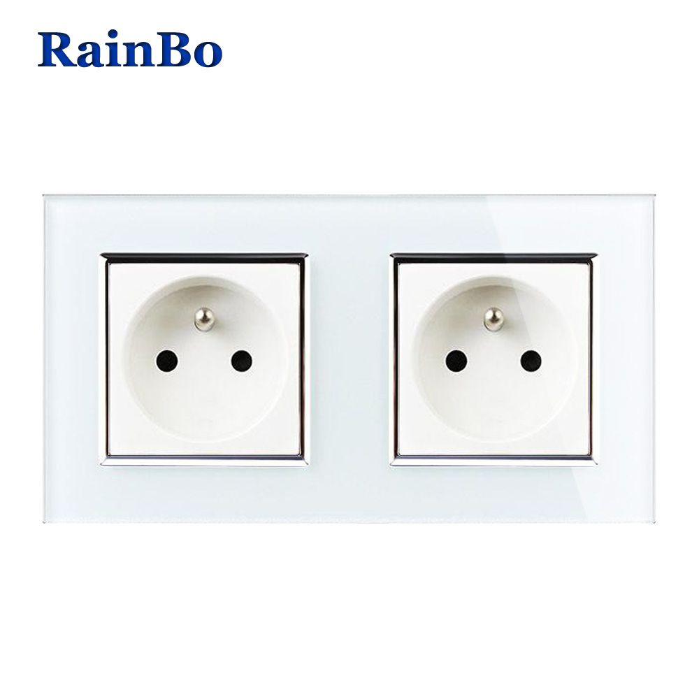 Rainbo стены Франции Мощность разъем Стекло Панель AC250V стены Мощность умная розетка розетки Бесплатная доставка производство a28f8fw/b