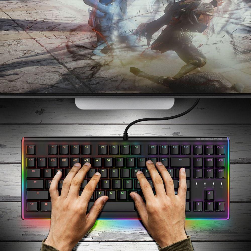 DURGOD Gaming Mechanical Keyboard 87 Keys RGB LED Illuminated Backlit Flowing Light Edge Gamer Keyboard Cherry MX Switches-Black