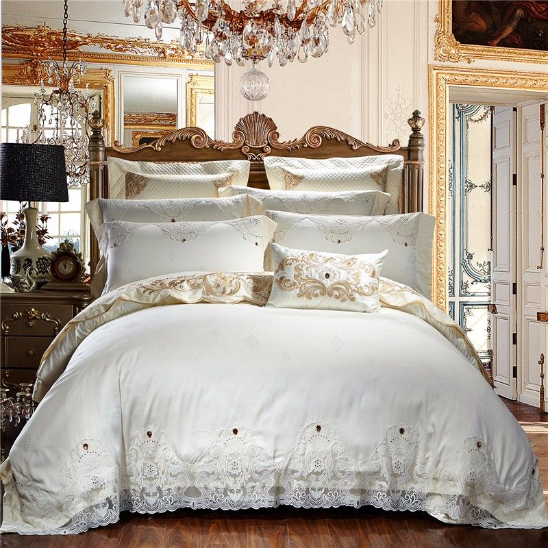 Creamy White Egyptian Cotton Lace Luxury Wedding Bedding Set Queen King size Beige Bed set Duvet Cover Bed sheets spread set