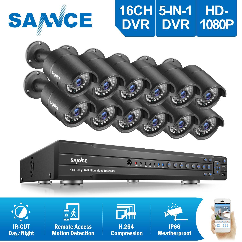 SANNCE 16CH 2MP 1080 P Full HD CCTV-System HDMI DVR 12 STÜCKE bulletHome Video Security Kameras Überwachungssystem 2 TB HDD