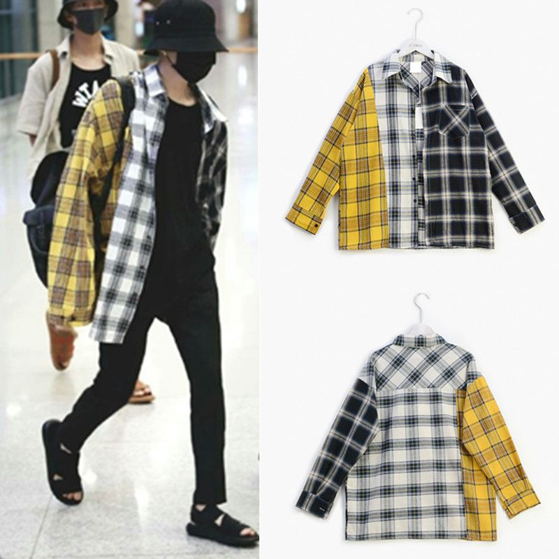 Kpophome Bulletproof Youth League BTS The same paragraph new South Korean fight color plaid shirt shirt jacket