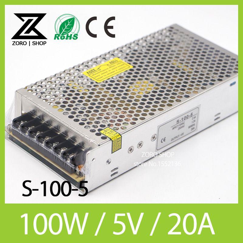 <font><b>100W</b></font> 5V 20A LED Light Devices Switching Power Supply AC-DC PSU 100/110/220/230V S-100-5