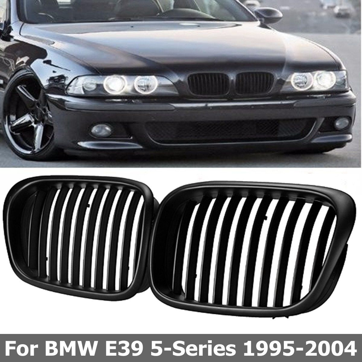 2pcs OEM Style Car Front Black Wide Kidney Grille Grill for BMW E39 5 series 1997 1998 1999 2000 2001 2002 2003