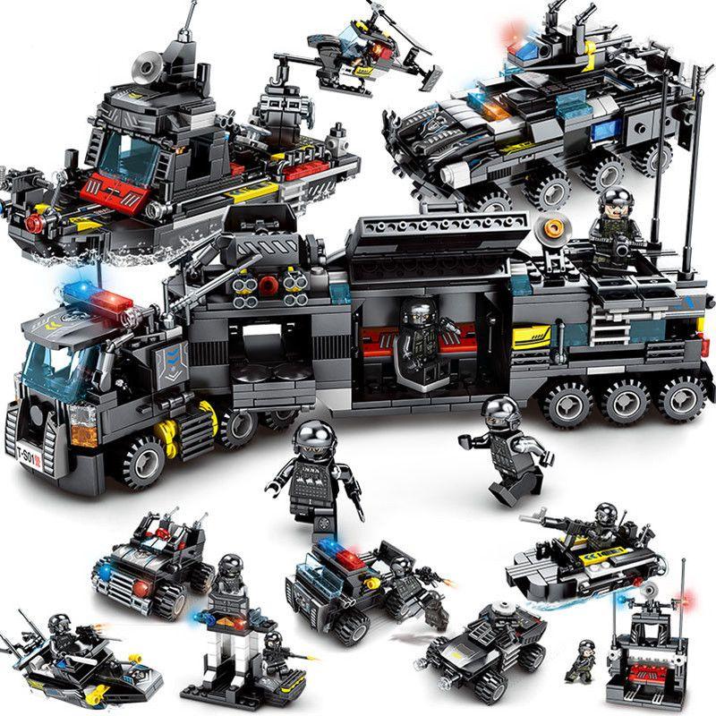 8 pcs/lot jeux de blocs de construction de camion de Police de la ville SWAT LegoINGs bateau hélicoptère véhicule créateur briques Playmobil jouets pour enfants