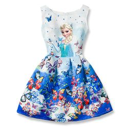 Snow Queen Dresses for Girls Princess Anna Elsa Dress Sleeveless Butterfly Summer Dress Birthday Party Clothes Elza Costumes