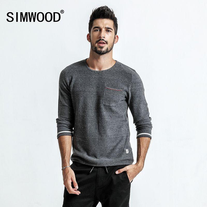 Simwood 2018 весенний свитер Для мужчин тянуть Homme карман Slim Fit О-образным вырезом Пуловеры для женщин в белый горошек вязаный свитер плюс Размеры ...