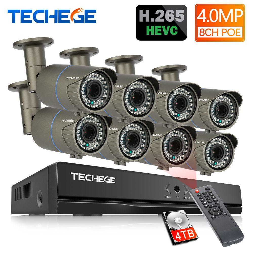 Techege H.265 8CH PoE NVR 8 stücke 2,8-12mm Maunal objektiv 4.0MP IP Kamera POE System P2P Wolke cctv System Unterstützung PC Mobile Ansicht
