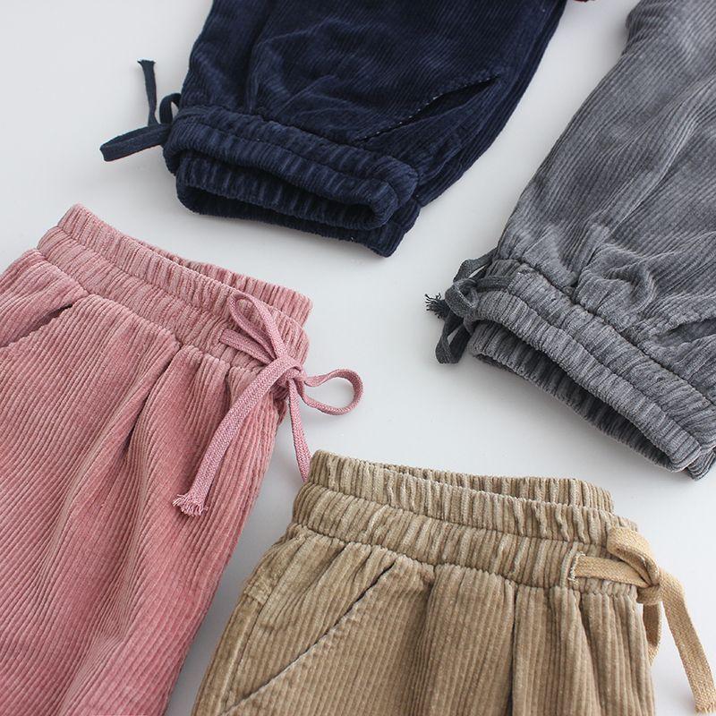 Pantalons en velours côtelé hiver nouvelle lâche version Coréenne de la rétro velours Coréenne femmes Lunan pantalon