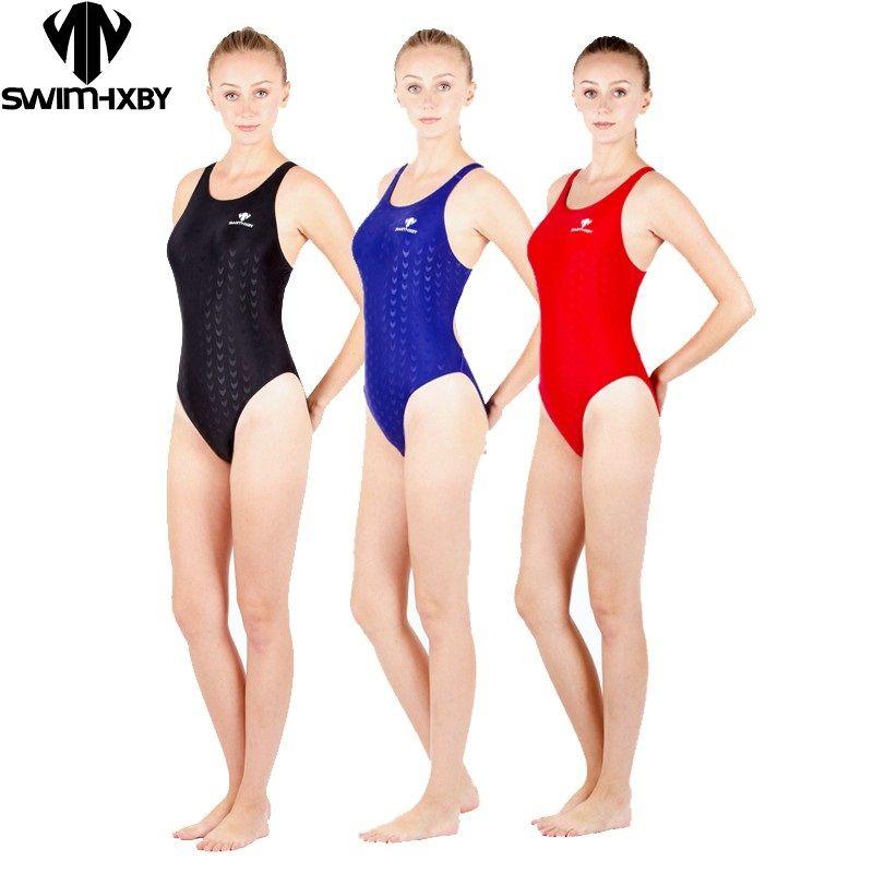 HXBY maillot de bain une pièce noir triangle de compétition maillot de bain imperméable résistant au chlore maillot de bain femme maillot de bain