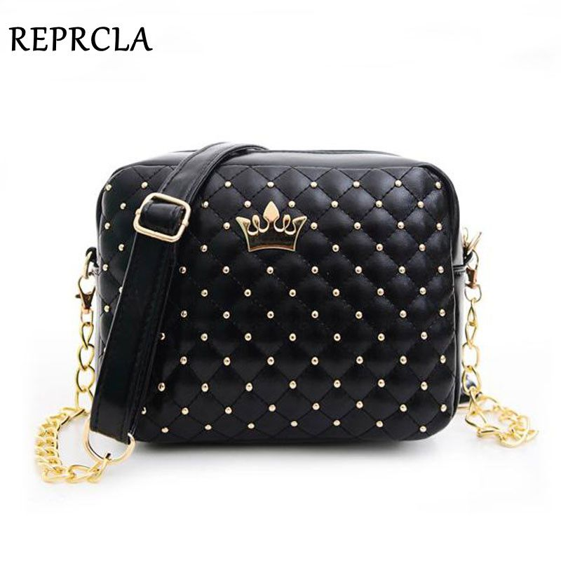 2017 Women Bag Fashion Women Messenger Bags Rivet Chain Shoulder Bag High Quality PU Leather Crossbody N0310